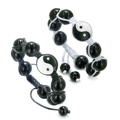 Yin Yang Love Couple or Best Friends Balance Positive Energy Amulet Bracelets Onyx Jade Gemstones
