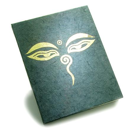 Amulet Tibetan All Seeing Buddha Wisdom Eye Natural Handcrafted Paper Journal Diary Wish Notebook