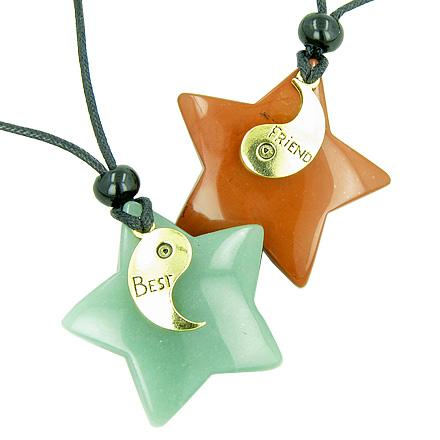Lucky Best Friends Ying Yang Green Aventurine and Red Jasper Star Gemstones Friendship Necklaces