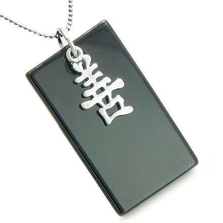 Amulet Good Luck and Happy 925 Silver Spiritual Powers Black Onyx Gemstone Tag Pendant Necklace