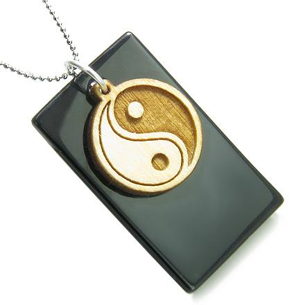 Amulet Ying Yang Wooden Charm 925 Silver Spiritual Powers Black Onyx Tag Pendant Necklace