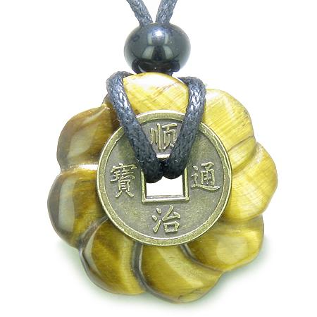 Antique Lucky Coin Celtic Lotus Flower Amulet Evil Eye Protection Tiger Eye 30mm Donut Necklace