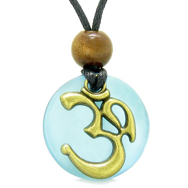 Ancient OM Tibetan Amulet Magic Powers Sky Blue Simulated Cats Eye Coin Medallion Pendant Necklace