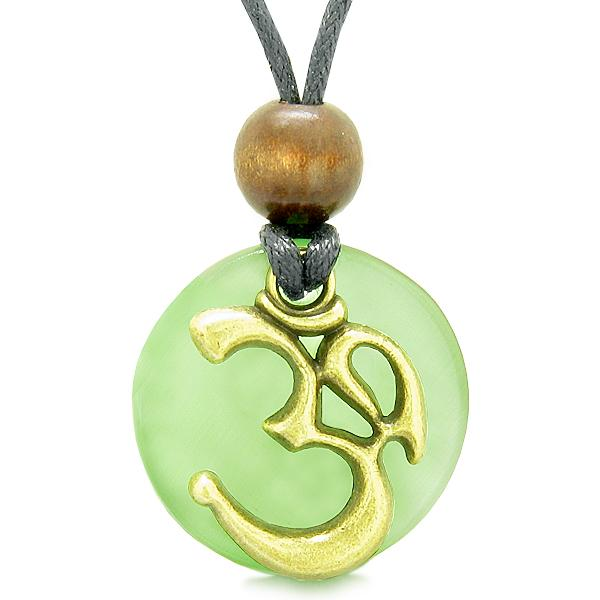 Ancient OM Tibetan Amulet Magic Powers Green Simulated Cats Eye Coin Medallion Necklace
