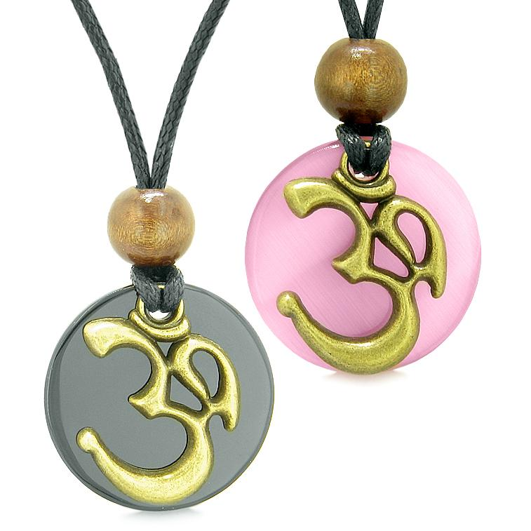 Ancient OM Tibetan Amulets Love Couples Yin Yang Powers Agate Pink Simulated Cats Eye Necklaces