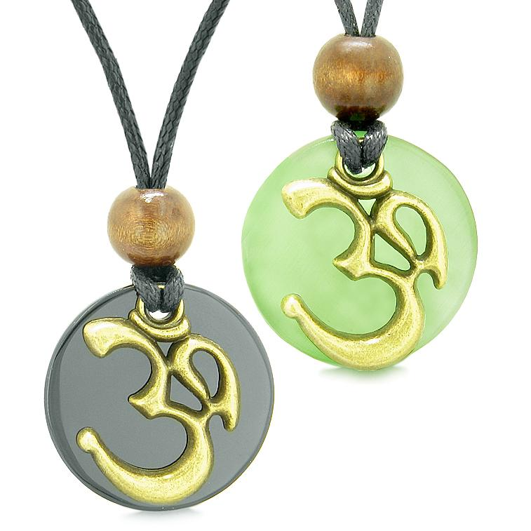 Ancient OM Tibetan Amulets Love Couple Yin Yang Powers Agate Green Simulated Cats Eye Necklaces