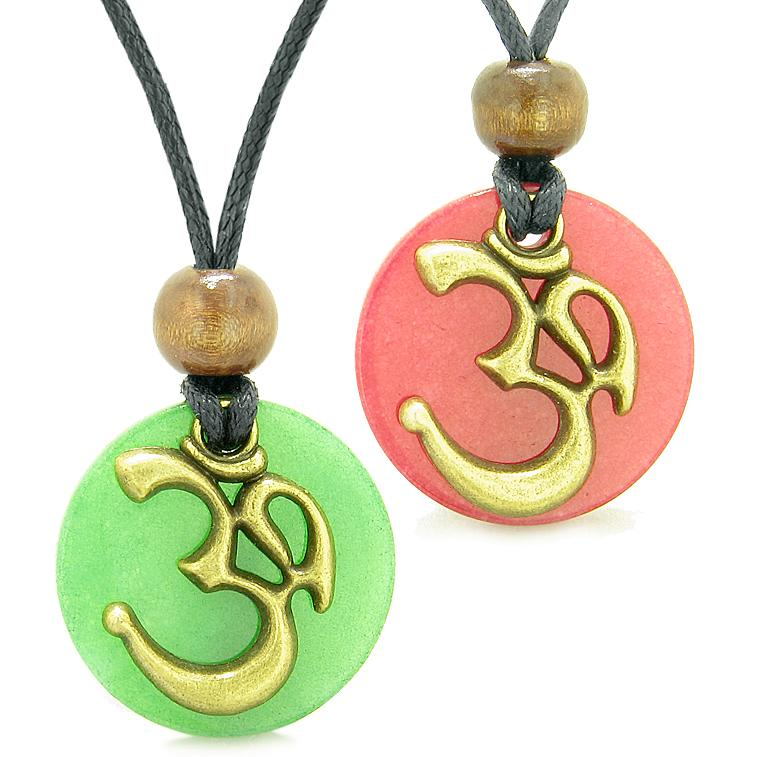 Ancient OM Tibetan Amulets Love Couples Yin Yang Powers Green and Cherry Red Quartz Necklaces