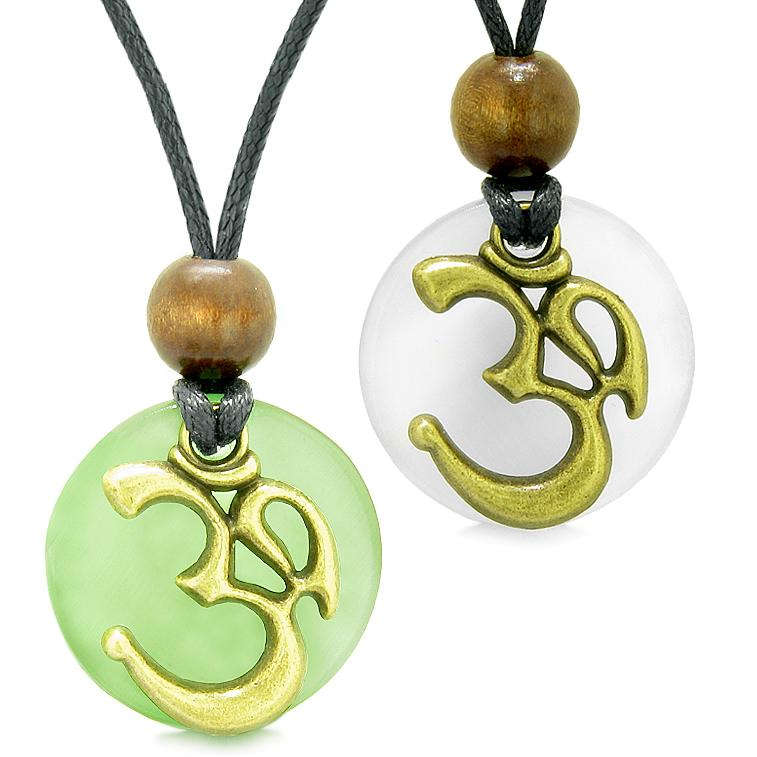 Ancient OM Tibetan Amulets Love Couples Yin Yang Powers Green White Simulated Cats Eye Necklaces