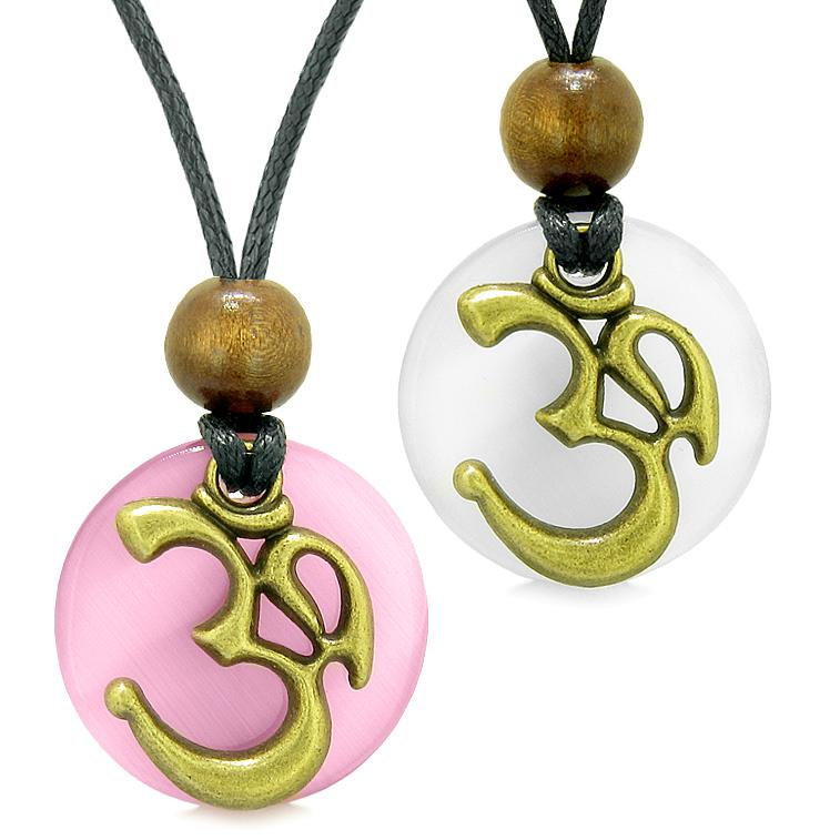 Ancient OM Tibetan Amulets Love Couples Yin Yang Powers Pink and White Simulated Cats Eye Necklaces