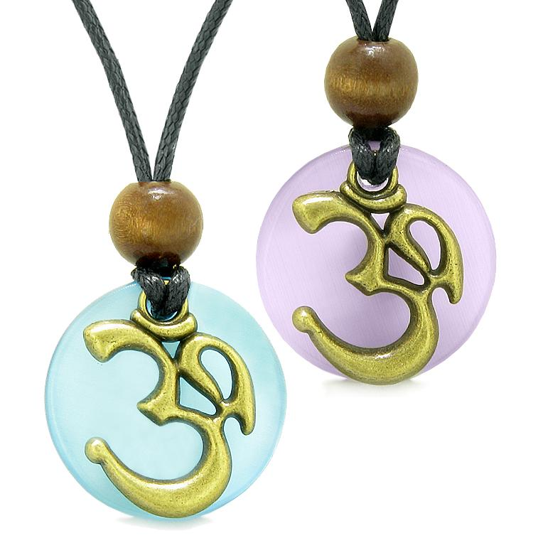 Ancient OM Tibetan Amulets Love Couples Yin Yang Powers Purple Blue Simulated Cats Eye Necklaces