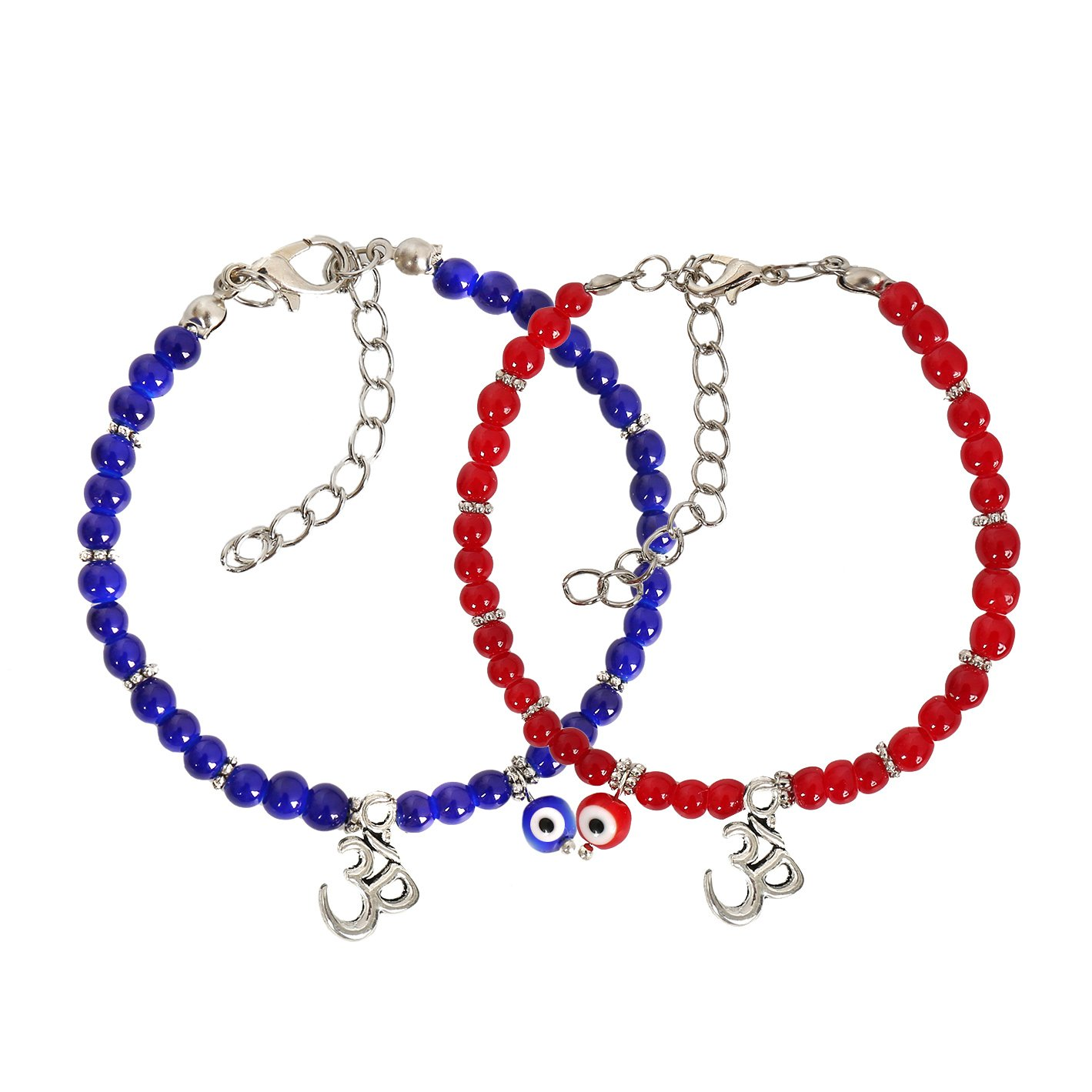 Evil Eye Protection Love Couples Amulets Set Royal Blue Red Accents OM Tibetan Spiritual Bracelets
