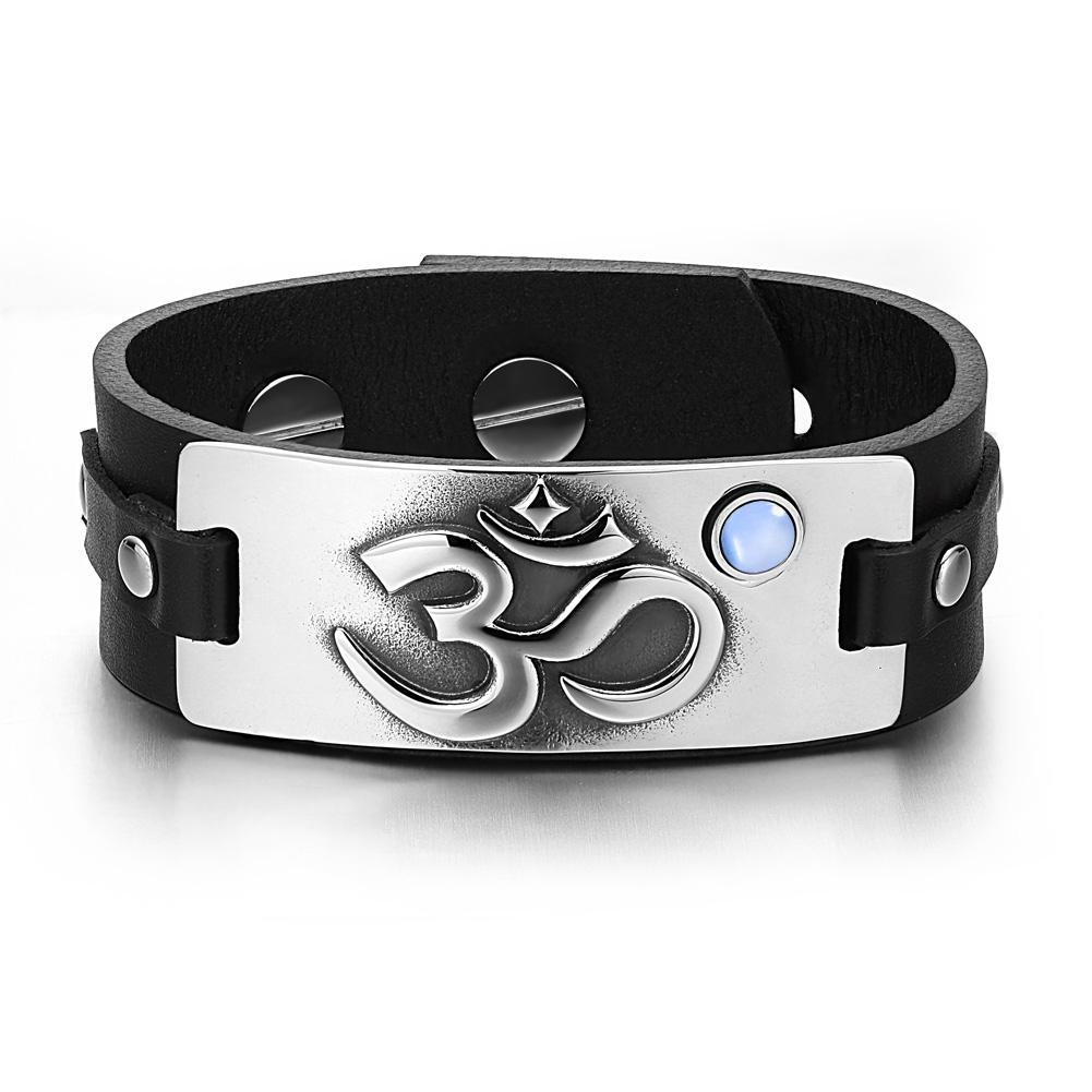 OM Ancient Tibetan Amulet Magic Powers Tag Sky Blue Simulated Cats Eye Black Leather Bracelet