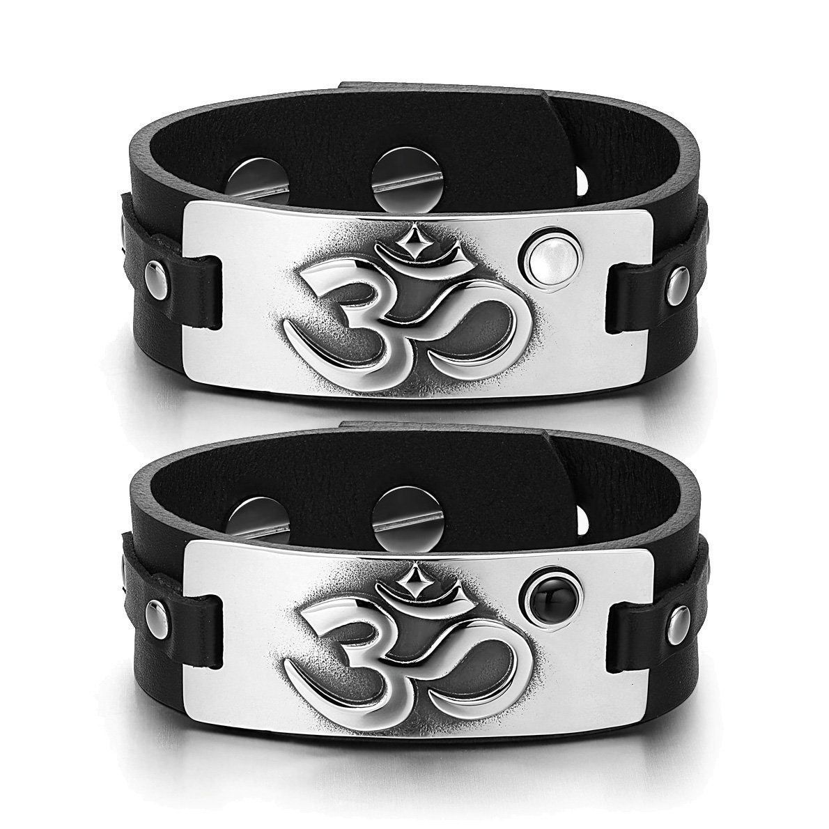 OM Ancient Tibetan Amulets Couples White Simulated Cats Eye Simulated Onyx Black Leather Bracelets