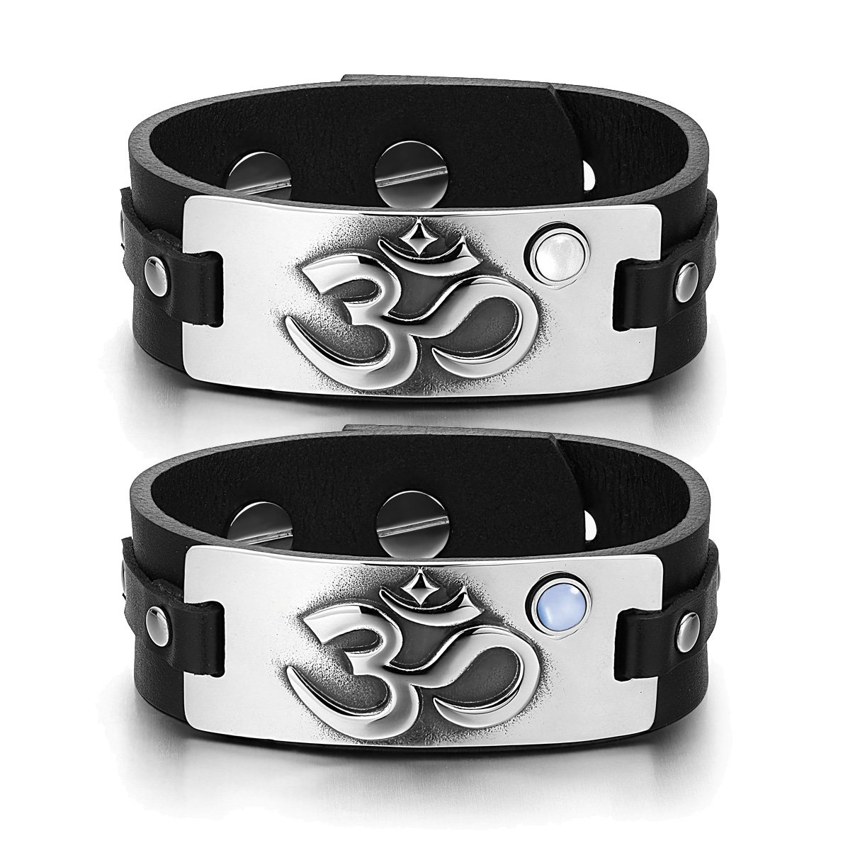 OM Ancient Tibetan Amulets Couples White Sky Blue Simulated Cats Eye Black Leather Tag Bracelets
