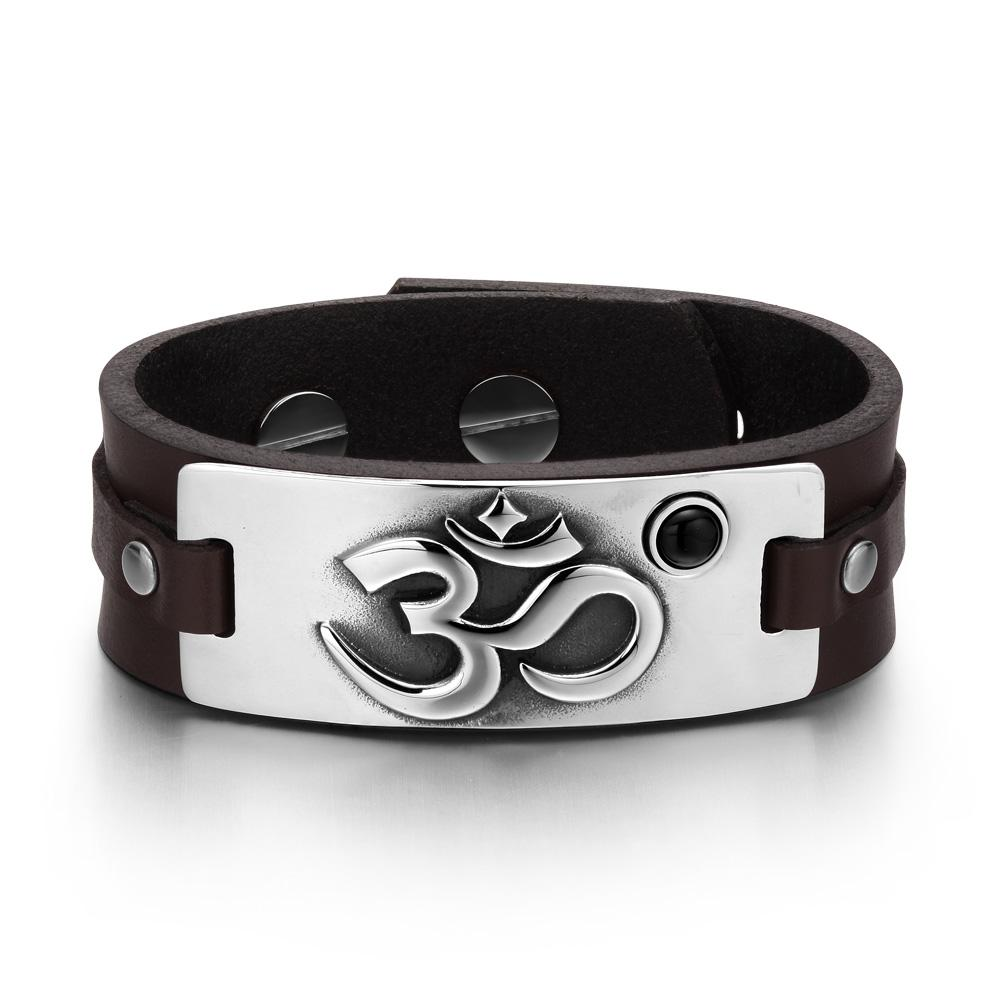 OM Ancient Tibetan Amulet Magic Powers Tag Simulated Black Onyx Dark Brown Leather Bracelet