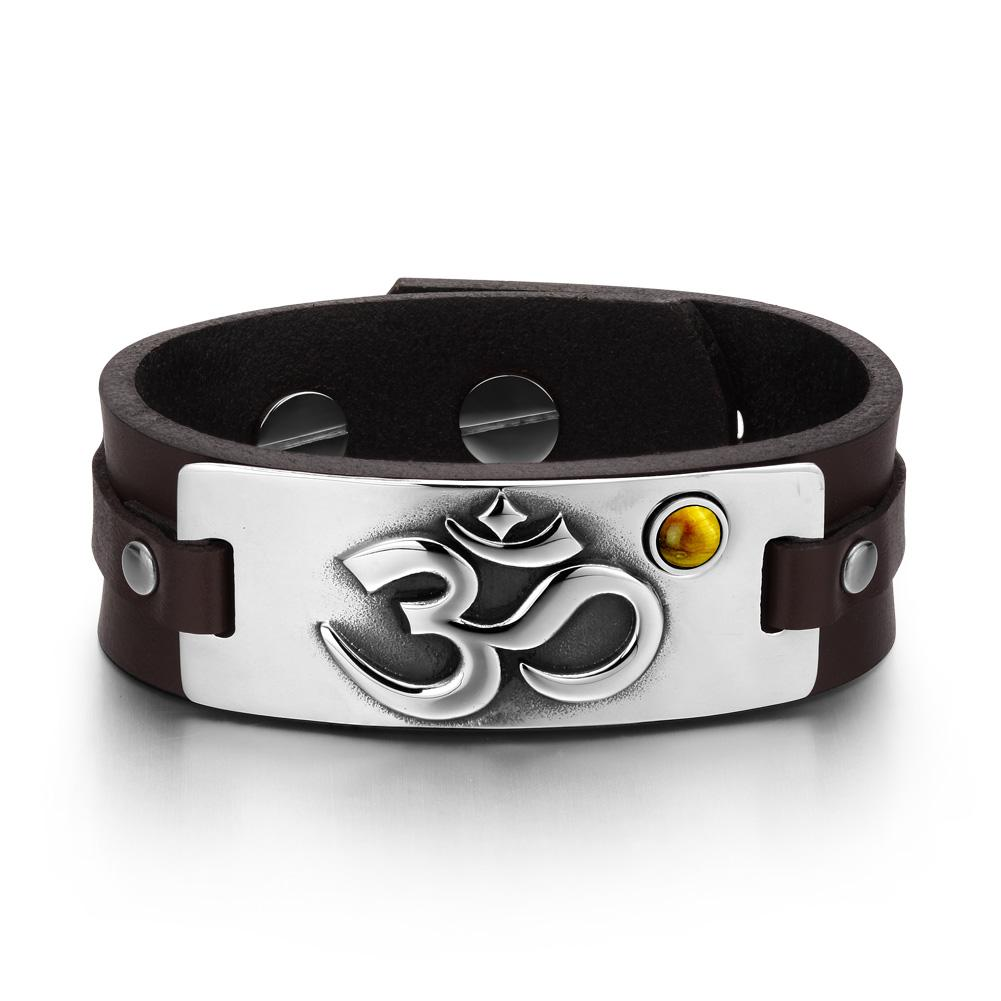OM Ancient Tibetan Amulet Magic Powers Tag Tiger Eye Gemstone Dark Brown Leather Bracelet