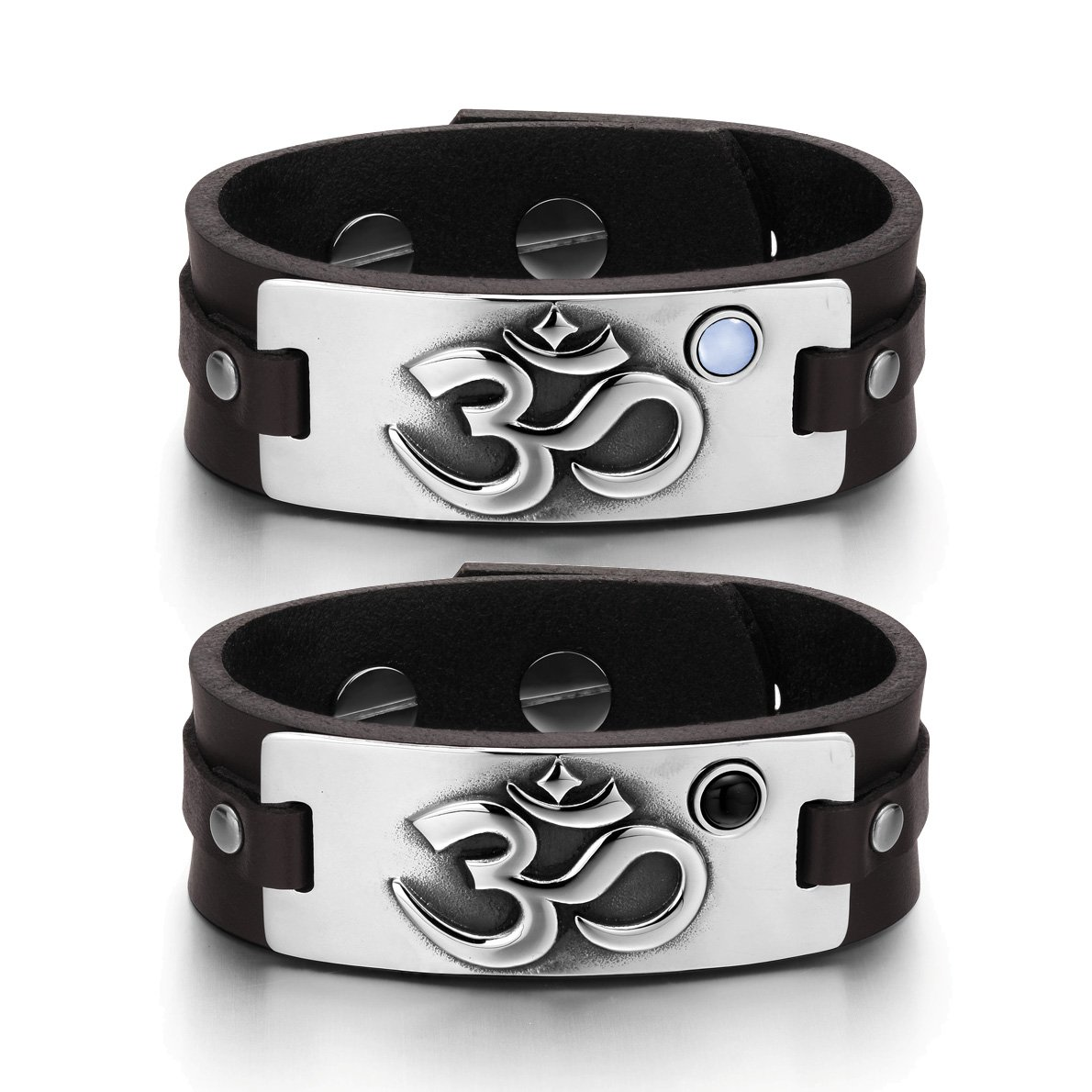 OM Ancient Tibetan Amulets Couples Blue Simulated Cats Eye Simulated Onyx Brown Leather Bracelets