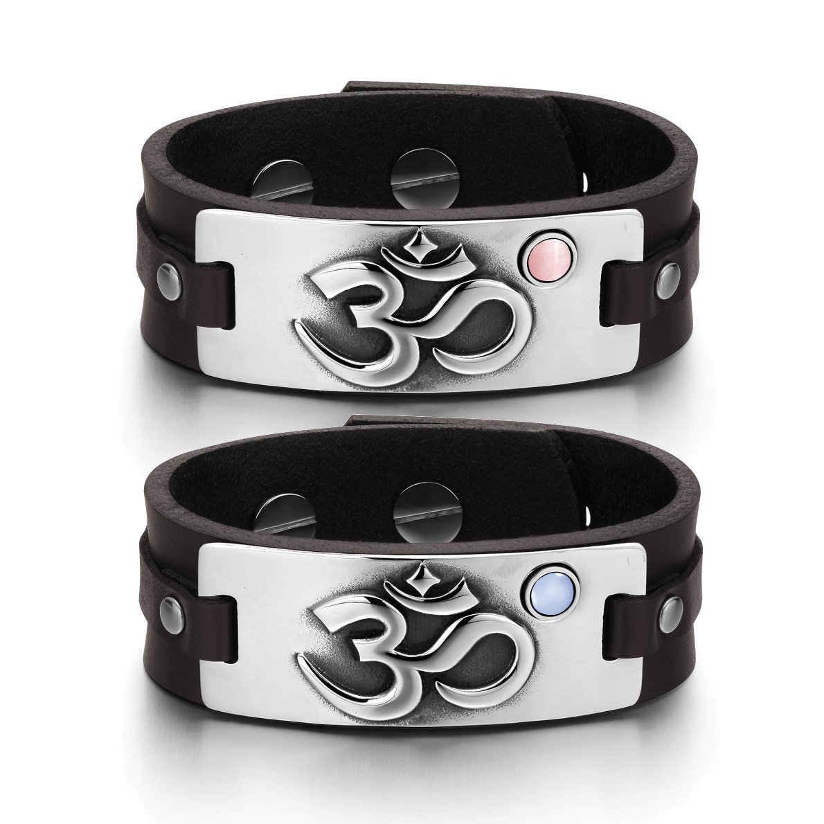 OM Ancient Tibetan Amulets Couples Pink Sky Blue Simulated Cats Eye Brown Leather Tag Bracelets