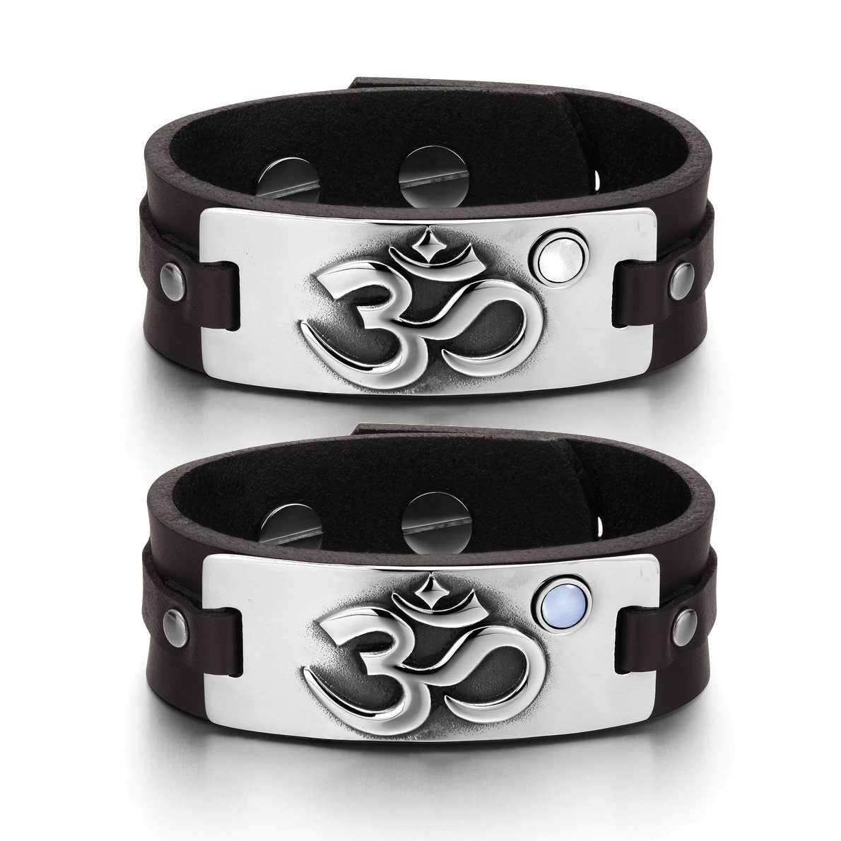OM Ancient Tibetan Amulets Couples White Sky Blue Simulated Cats Eye Brown Leather Tag Bracelets