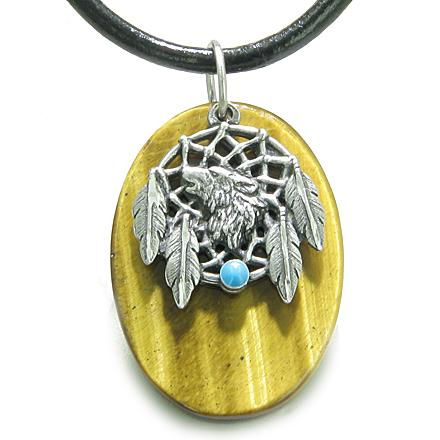 Howling Wolf Dreamcatcher Amulet Evil Eye Protection Powers Tiger Eye Pendant Leather Cord Necklace