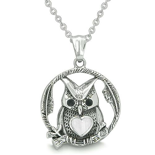 Owl Cute Heart Amulet Positive Woods Energy Forces Magic Medallion White Cats Eye Pendant Necklace