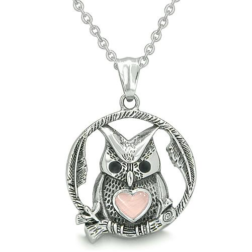 Owl Cute Heart Amulet Positive Woods Energy Forces Magic Medallion Pink Cats Eye Pendant Necklace