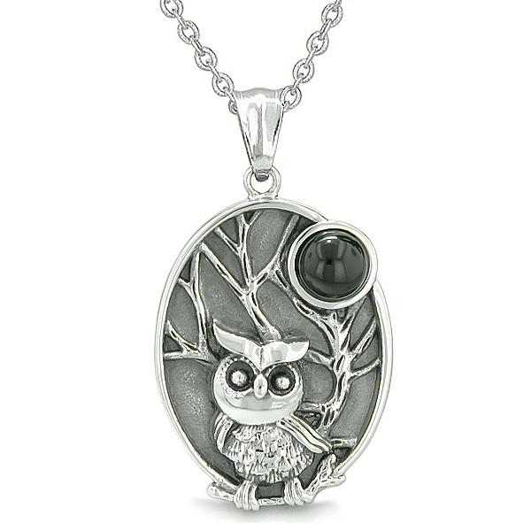 "Amulet Owl and Wild Woods Magic Moon Charm Man Made Black Onyx Gem Pendant on 22"" Necklace"