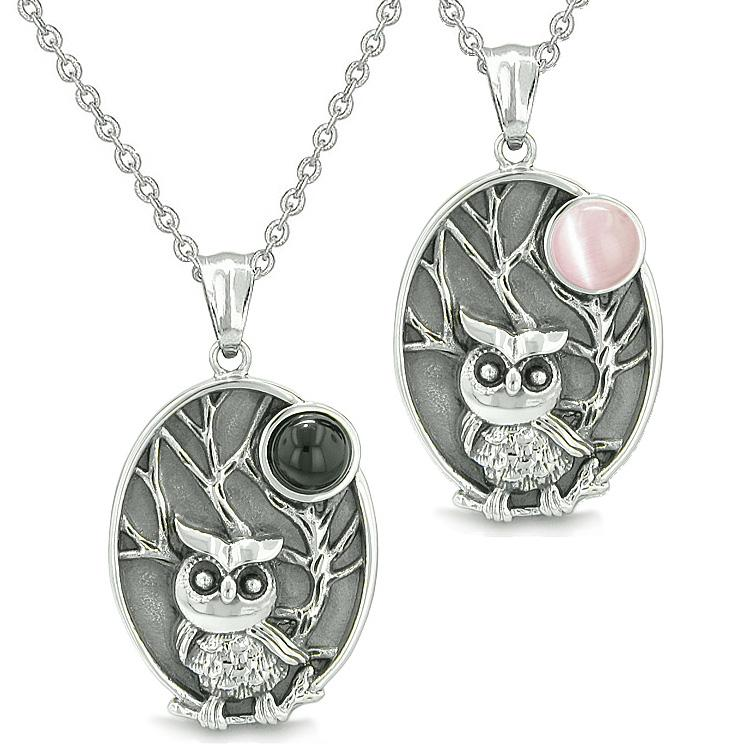 Amulets Love Couple Best Friends Owl Wild Woods Magic Moon Man Made Onyx Pink Cats Eye Necklaces