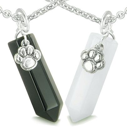 Positive Energy Love Couple Best Friends Wolf Paw Amulet Crystal Points Jade Onyx Stones Necklaces