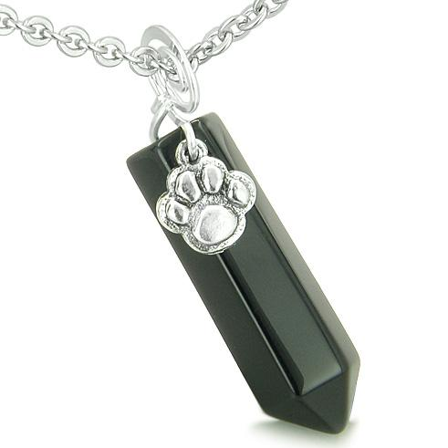 Amulet Lucky Wolf Paw Crystal Point Charm Black Onyx Gemstone Spiritual Protection Pendant Necklace