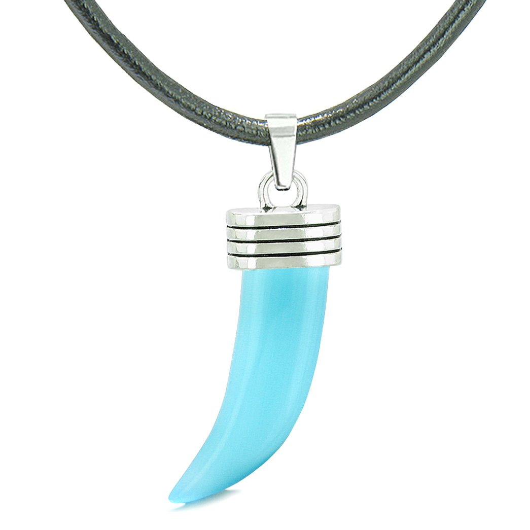 Italian Horn Pepper Protection Powers Tooth Amulet Sky Blue Simulated Cats Eye Lucky Charm Leather Necklace