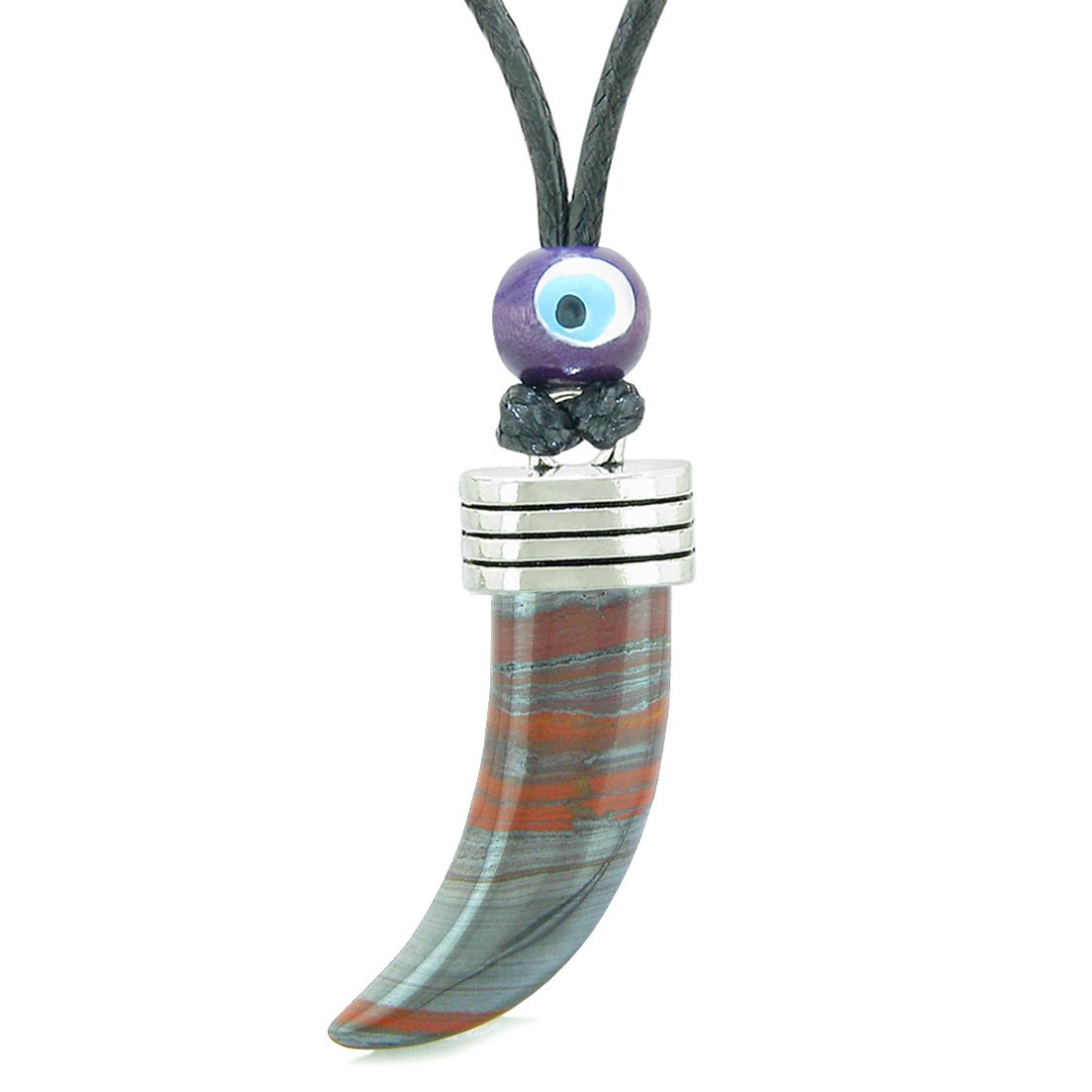 Italian Horn Pepper Protection Powers Tooth Amulet Dragon Eye Hematite Iron Lucky Charm Adjustable Necklace