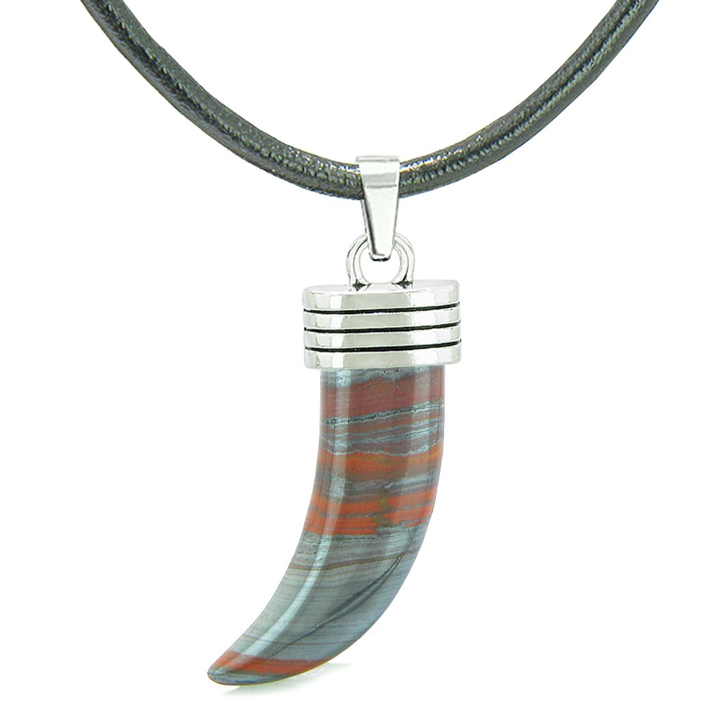 Italian Horn Pepper Protection Powers Tooth Amulet Dragon Eye Hematite Iron Lucky Charm Leather Necklace