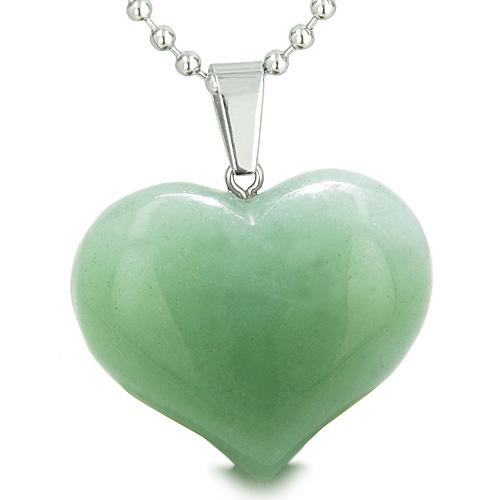 Amulet Large Puffy Heart Lucky Charm in Green Aventurine Gemstone Healing Powers Pendant Necklace