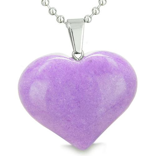 Amulet Large Puffy Heart Lucky Charm in Purple Jade Gemstone Good Luck Powers Pendant Necklace