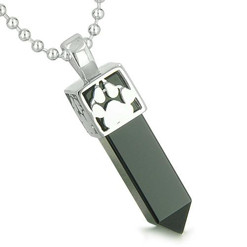 Amulet Reversible Wolf Paw Kanji Super Magic Positive Powers Onyx Crystal Point Pendant Necklace