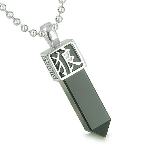 Amulet Reversible Wolf Paw Kanji Magic Super Positive Powers Onyx Crystal Point Pendant Necklace