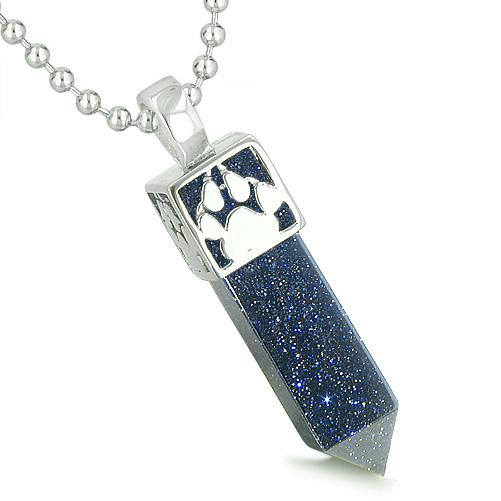 Amulet Reversible Wolf Paw Kanji Super Positive Power Blue Goldstone Crystal Point Pendant Necklace