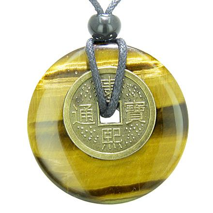 Antique Lucky Coin Evil Eye Protection Powers Amulet Tiger Eye Gemstone 40mm Donut Pendant Necklace