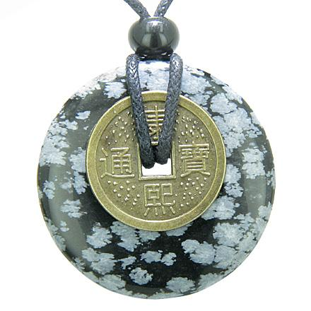 Antique Lucky Coin Evil Eye Protection Powers Amulet Snowflake Obsidian 40mm Donut Pendant Necklace