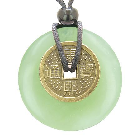 Antique Lucky Coin Evil Eye Protection Powers Amulet Green Jade 40mm Donut Pendant Necklace