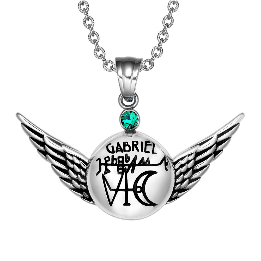 Magic Powers Archangel Gabriel Sigil Angel Wings Amulet Pendant Necklace