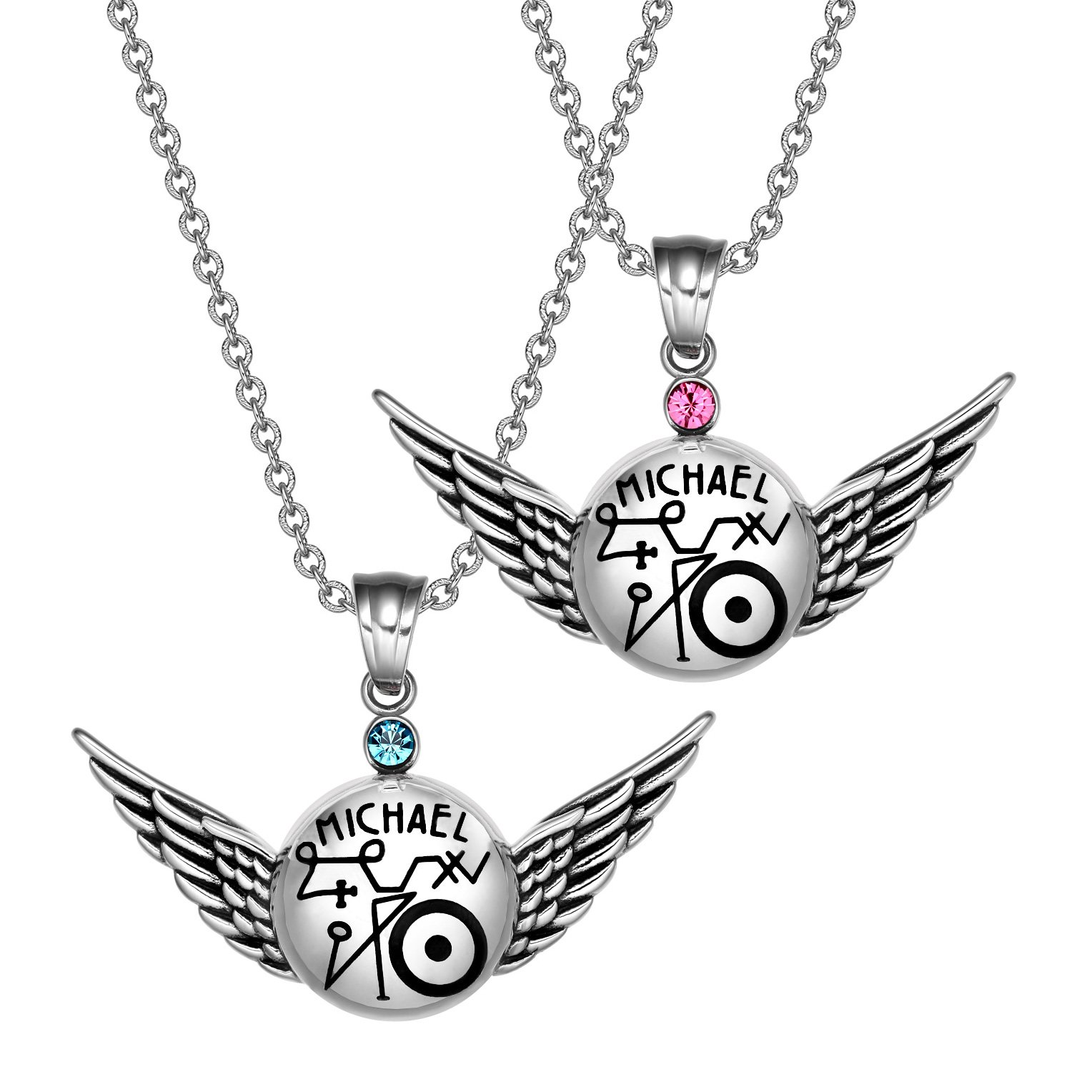 Archangel Michael Magic Amulets Love Couples Set Angel Wings Pendant Necklaces
