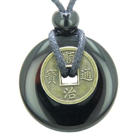 Antique Lucky Coin Spiritual Powers Amulet Black Onyx Gemstone 30mm Donut Pendant Necklace