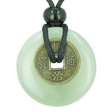 Antique Lucky Coin Evil Eye Protection Powers Amulet Green Jade 30mm Donut Pendant Necklace