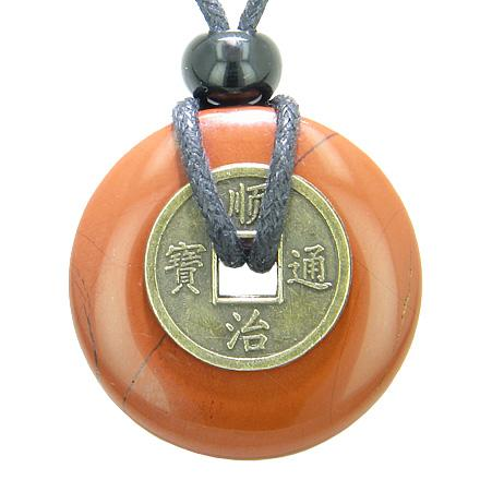 Antique Lucky Coin Believe Powers Amulet Red Jasper Gemstone 30mm Donut Pendant Necklace