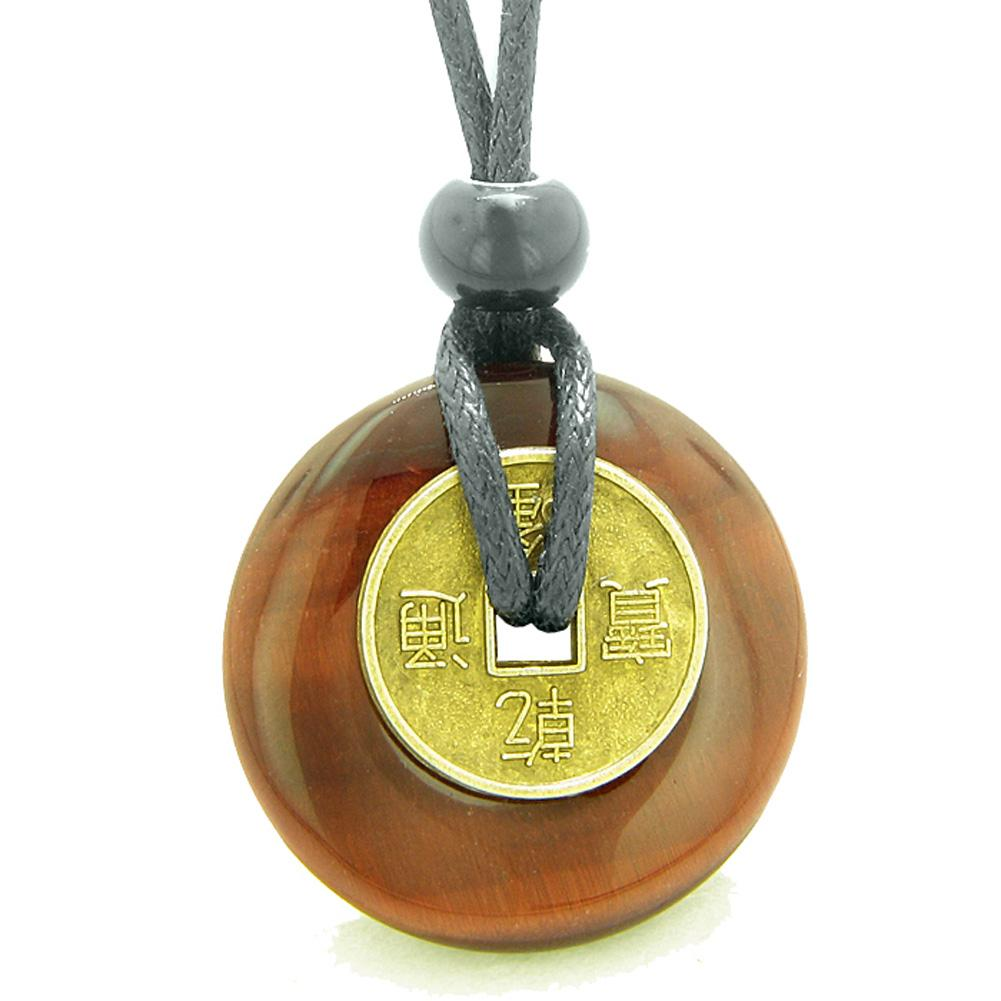 Antique Lucky Charm Coin Donut Protection Power Amulet Red Tiger Eye Magic Gemstone 30mm Pendant Necklace