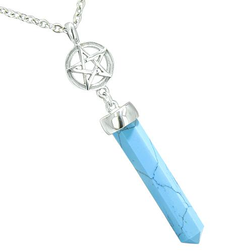 Magic Energy Powers Star Pentacle Pentagram Amulet Crystal Point Charm Turquoise Pendant Necklace