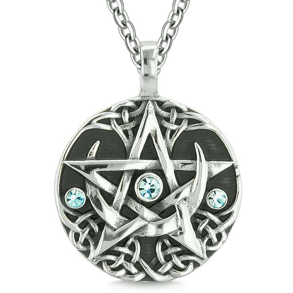 Amulet Pentacle Magic Super Star Celtic Flames Defense Blue Crystals Pentagram Pendant Necklace