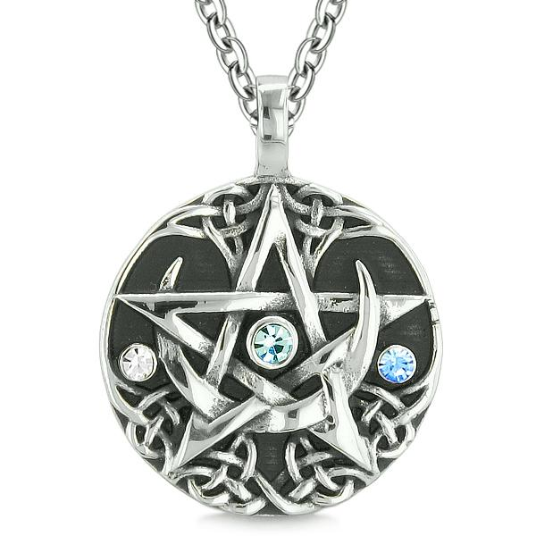 Amulet Pentacle Magic Star Celtic Defense Sky Blue White Crystals Pentagram Pendant Necklace